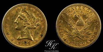 5 Dollars 1906 D Liberty USA