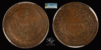 5 lepta 1828 Variety 133 (Scarce) Governor Kapodistrias PCGS AU53 Greece