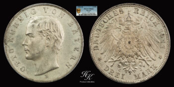 3  Mark 1911 D OTTO KOENIG VON BAYERN PCGS MS64 Bavaria – Germany