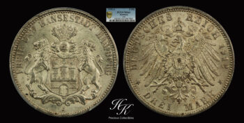 3  Mark 1912 J  PCGS MS64 Hamburg – Germany