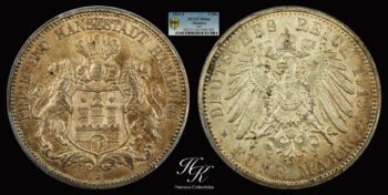 5 Mark 1913 J Hamburg  PCGS MS64 Germany