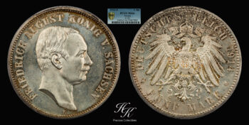 5 Mark 1914 E Friedrich August III Saxony  PCGS MS66 Germany
