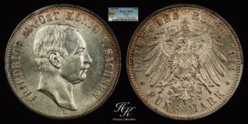 5 Mark 1914 E Friedrich August III Saxony  PCGS MS63 Germany