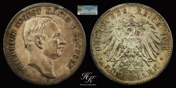 5 Mark 1914 E Friedrich August III Saxony  PCGS MS65 Germany