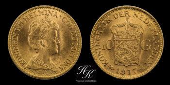 10 Gulden 1917 Wilhelmina Netherlands