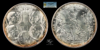 "30 Drachmai 1963 PCGS MS66 ""Five Kings"" Greece"