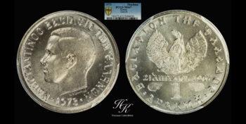 Drachma 1973 Konstantinos B PCGS MS67 Greece
