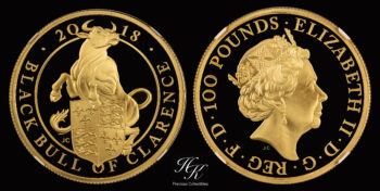 100 Pounds 2018 Proof Queen's Beast Black Bull 1 oz Great Britain