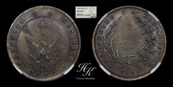 5 Lepta 1828 Governor Kapodistrias NGC MS62 BN  Variety 133 Greece