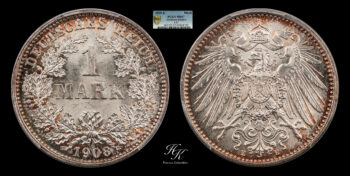 1 Mark 1908 E Wilhelm II PCGS MS67 TOP POP Germany