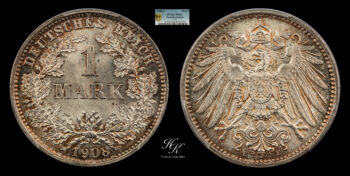 1 Mark 1908 E Wilhelm II PCGS MS66  Germany