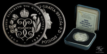 "Proof Silver Crown 1990 ""90th Birthday"" Elizabeth Great Britain"