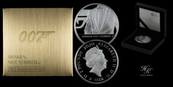 "2 Pounds 1 oz Silver Proof James Bond 3d coin ""Shaken not Stirred"" Great Britain"