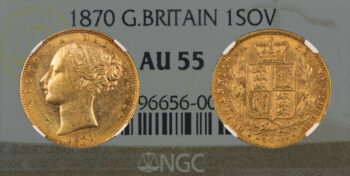 """Sovereign 1870 """"Shield"""" NGC AU55 Great Britain"""