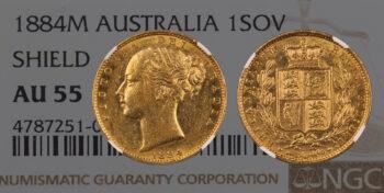 "Sovereign 1884 Melbourne ""Shield"" NGC AU55 Australia"