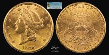 "20 Dollars 1898 gold San Francisco ""Liberty"" PCGS MS62 USA"