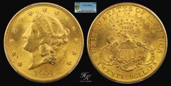 "20 Dollars 1904 gold ""Liberty"" PCGS MS64 USA"