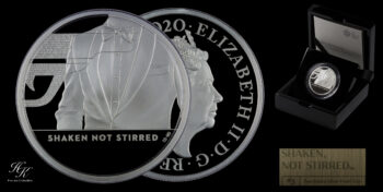 "5 Pounds 2 oz Silver Proof James Bond 3d coin ""Shaken not Stirred"" Great Britain"