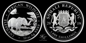 "1000 Shillings 2019 ""Elephant"" 10 oz silver coin Somalia"