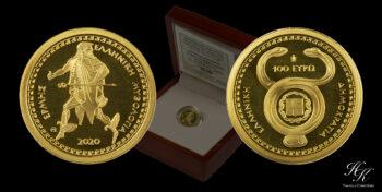 "100 euros 2020 gold proof coin ""Hermes"" Greece"