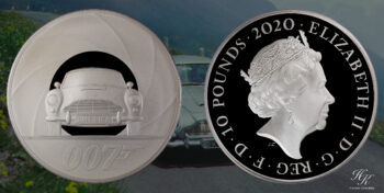 "10 Pound 5 ounce proof silver coin 2020  ""James Bond"" Great Britain"