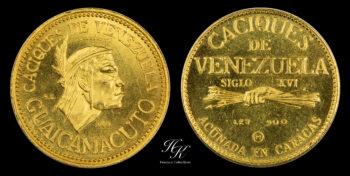 "5 Bolivares ""Caciques de Venezuela "" gold coin Venezuela"