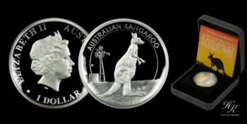 "1 Dollar silver proof high relief ""Kangaroo"" Australia"