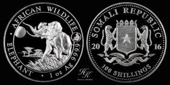 "100 Shillings 2016 ""Elephant"" 1 oz silver coin Somalia"
