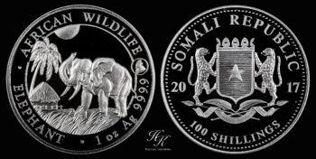 "100 Shillings 2017 ""Elephant"" 1 oz silver coin Somalia"
