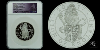 "10  Pounds 2017 10 oz silver ""The Queen's Beasts – The Lion Of England"" NGC PR70 ULTRA CAMEO Great Britain"