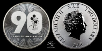 "2 Dollars Elizabeth II ""90th Anniversary of Mickey Mouse"" 1 oz silver coin Niue"