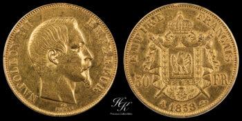 """50 Francs 1858 A """"Napoleon III""""  France"""