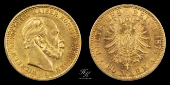 "20 Mark 1875 A ""Wilhelm I "" Prussia"