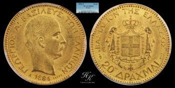 20 Drachmai 1884 A (King George A ) PCGS MS63 Greece