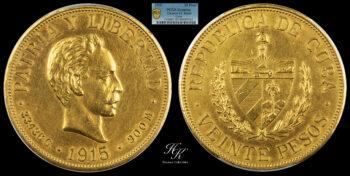 "20 Pesos 1915  ""José Martí"" PCGS AU details Cuba"
