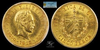5 Pesos 1915 José Martí PCGS MS62 Cuba