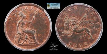 Lepton 1862 PCGS MS65RB Ionian Islands Greece