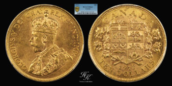 "10 Dollars 1912 ""George IV"" PCGS MS63 Canada"