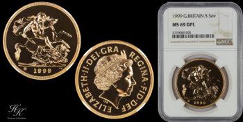 """5 Pound 1999  quintuple sovereign """"Elizabeth"""" NGC MS69DPL Great Britain"""
