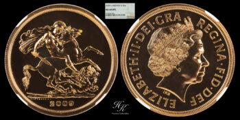 """5 Pound 2009  quintuple sovereign """"Elizabeth"""" NGC MS68DPL Great Britain"""