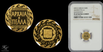 """50 euros 2012 """"ΑΡΧΑΙΑ ΠΕΛΛΑ"""" NGC PR69 ULTRA CAMEO proof gold issue of Bank of Greece"""
