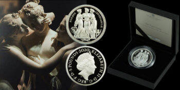 """5 Pounds 2020 """"THE THREE GRACES"""" 2 oz silver proof coin Great Britain"""