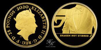 25 Pound (1/4 Oz) 2020 Proof gold  JAMES BOND 007 Coin (Series 3 – SHAKEN NOT STIRRED) Great Britain