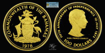 """100 Dollars 1978 """"5th Anniversary of Independence-Prince Charles"""" PCGS PR66DCAM Bahamas"""