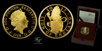 """100 Pounds 2017 Proof Gold Queen's Beast """"Lion Of England"""" 1 oz  Great Britain"""