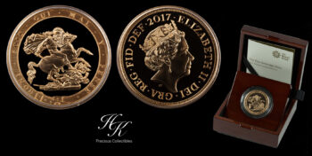 5 Pounds  2017 (quintuple sovereign) gold BU coin Great Britain