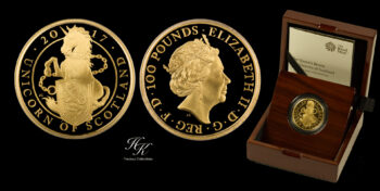 """100 Pounds 2017 Proof Gold Queen's Beast """"Unicorn Of Scotland"""" 1 oz  Great Britain"""