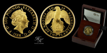 """100 Pounds 2019 Proof Gold Queen's Beast """"Falcon Of The Plantagenets"""" 1 oz  Great Britain"""