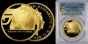 """100 Pounds 2020 Proof Gold James Bond 3rd coin """"Shaken not Stirred"""" PCGS PR69DCAM Great Britain"""