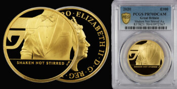 """100 Pounds 2020 Proof Gold James Bond 3rd coin """"Shaken not Stirred"""" PCGS PR70DCAM Great Britain"""